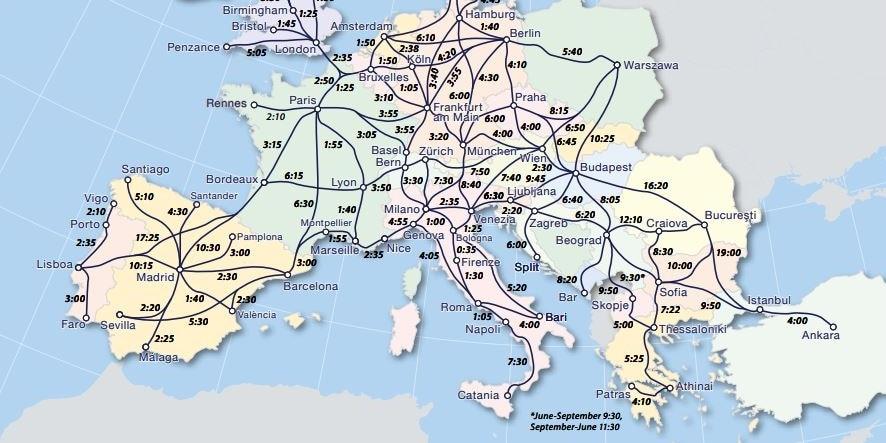 Carte Ferroviaire Deurope.Interrail Voyages Illimites En Train Dans Toute L Europe Db